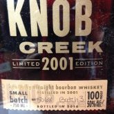 Knob Creek Bourbon 2001 LTD Edition Batch #3 750 mL