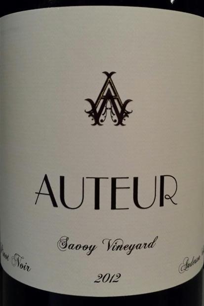Auteur Pinot Noir Savoy Vineyard Anderson Valley 2012 Red California Wine 750 mL