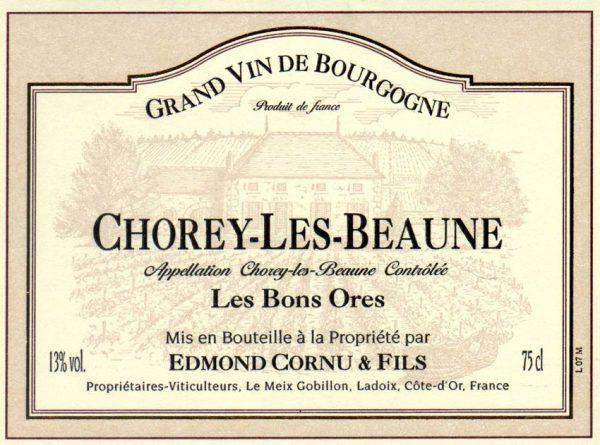 """Edmond Cornu et Fil Chorey Les Beaune Rouge """"Les Bons Ores"""" Red French Burgundy Wine 750 mL"""