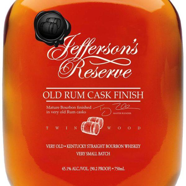 Jefferson's Reserve Bourbon Old Rum Cask Finish 90.2 Proof American Bourbon Whiskey 750 mL