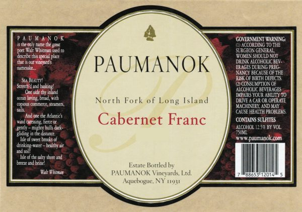 Paumanok Cabernet Franc 2014 Red Long Island Wine 750 mL