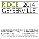 Ridge Geyserville Sonoma County Red California Wine