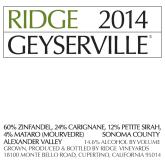 Ridge Geyserville Sonoma County Red California Wine