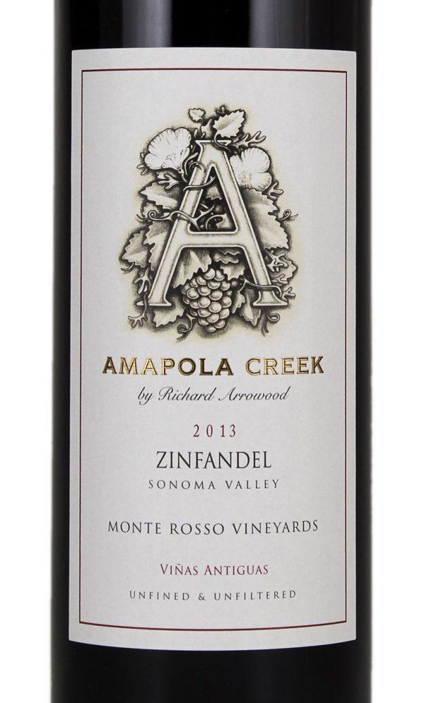 Amapola Creek Zinfandel Monte Rosso Vineyard  California Red Wine 2013 750 mL