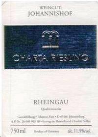 Johannishof Riesling Qualitatswein Charta 2015 German White Wine