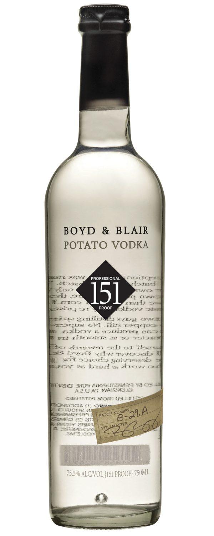 Boyd & Blair Potato Vodka Profession Proof 151 Pennsylvania