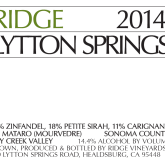 Ridge Lytton Springs Dry Creek Valley 2011 Red California Wine