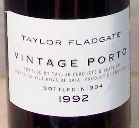 Taylor Fladgate vintage Port 1992 Portugese Red Dessert Wine 750 mL