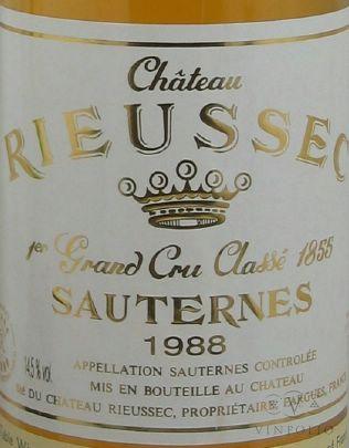Chateau Rieussec Sauternes 1988 French Dessert Wine