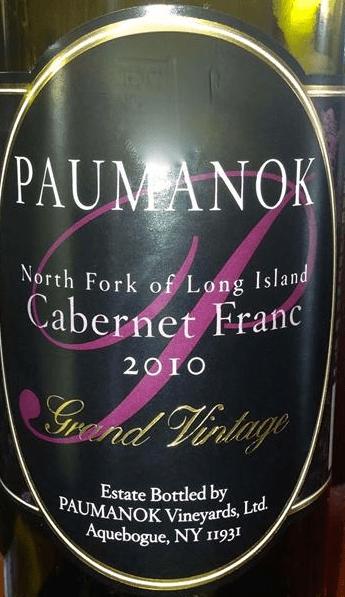 Paumanok Cabernet Franc Grand Vintage 2010 Red Long Island Wine