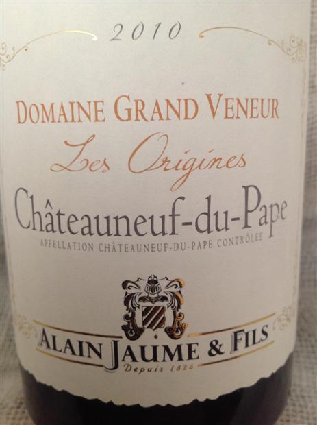 Domaine Grand Veneur Chateauneuf du Pape Cuvee les Origines 2012 French  Red Rhone Wine 750 mL