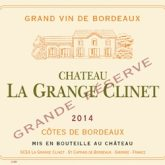 Chateau la Grange Clinet Grande Reserve Cotes de Bordeaux 2014 French Red Wine 750 mL