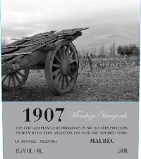 Mendoza Vineyards 1907 Malbec Argentina Red Wine 750mL