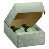 Two Bottle Gift Box Green Damask